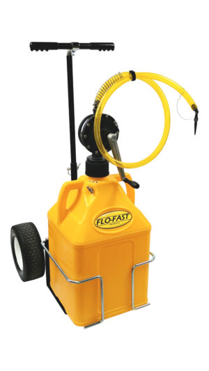"FLO-FAST™ Single 15 Gallon Versa Cart System - Yellow Container - 12"" Tires"